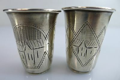 A Pair Of Small Antique Russian 84 Goblets/cups