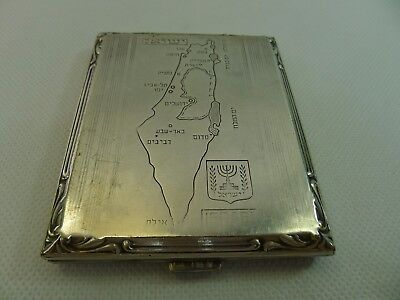 late 1940's map of Israel rare hinged lid silver plated on brass cigarette case