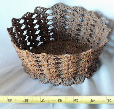 Rare antique 19th C 1850s Sailor Made Ropework Macrame open Basket