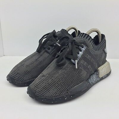 a308ae8e8ee79 Adidas NMD R1 Boost Black Running Shoes Athletic Gray Laced Sneakers Mens  Size 5