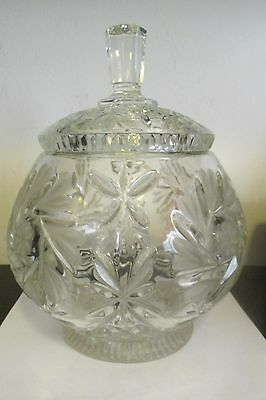 Vintage Cut Glass Round Shaped Biscuit Jar Barrell with Lid Very Unique Shaped