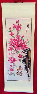 Hand Painted Chinese Japanese Asian Paper Scroll Pink Blossom Hanging