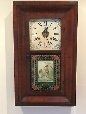 Antique American 30 Hour Wall Clock Made By Waterbury In Full Working Order
