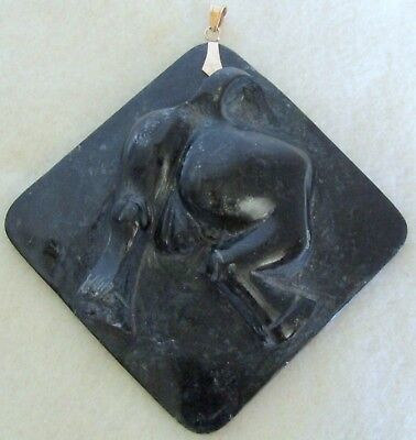 Rare Large Vintage Carved Stone Bull's Bull Rear Pendant 14K Solid Gold Bale