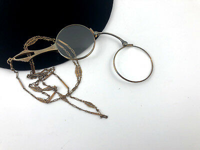 Vintage Folding Opera Reading Eye Glasses Eyeglasses Gold Tone Lorgnette Chain