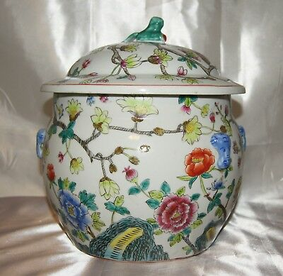 Absolutely Beautiful & Robust Vintage Chinese Ginger Jar With Cover & Maker Mark
