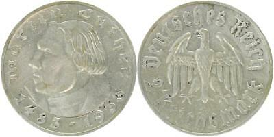 Drittes Reich 2 Reichsmark 1933 A - Luther - Jaeger 352 - ss