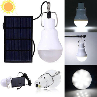 20W Solar Panel Powered 12 LED Bulb Light Portable Outdoor Camping Energy Lamp