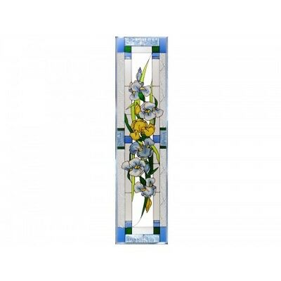 "Iris Flowers Art Glass Window Panel Suncatcher 10.25"" x 42"" Vertical Floral"