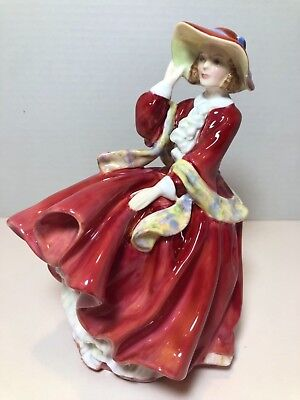 """Royal Doulton #hn1834 Top O' The Hill Red Dress & Hat 7 1/2"""" Woman Figurine 1937"""
