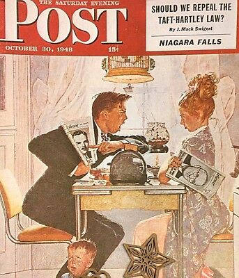 VTG Norman Rockwell Art Print Saturday Evening Post POLITICS & NEWS SEE VARIETY