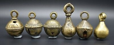 Group of 6 antique Near Eastern brass bells