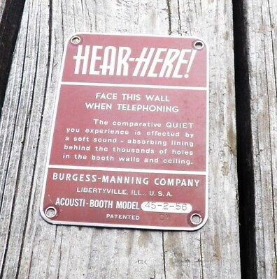 Vintage HEAR HERE metal sign by Burgess-Manning Company for Acousti Booth phone