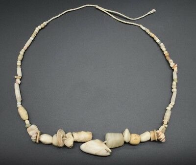 Ancient Romano-Egyptian stone, shell and rock crystal bead necklace 1st C. AD