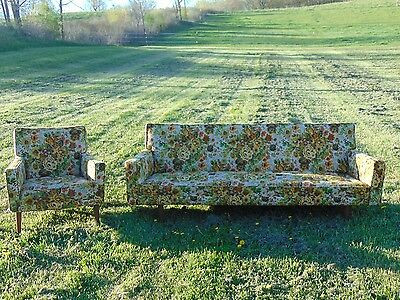 Vintage Mid Century Sofa Couch and Matching Chair Floral Tapestry Wood Legs