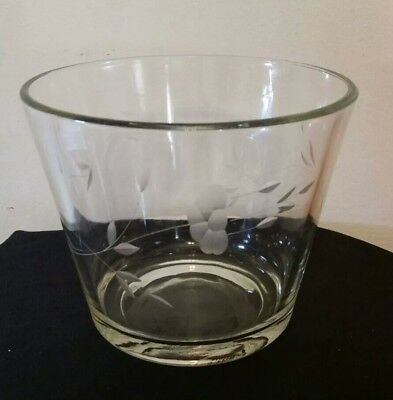 Vintage 1960's Etched Wheat Glass Vase Compote Chiller Bowl Dish Thick Heavy
