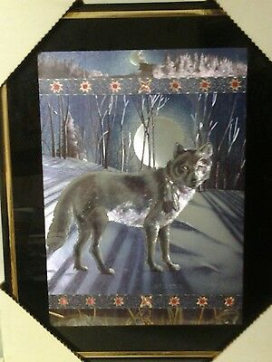 Wolf , Feather,& Moon 8x10 framed dimensional  made in England and USA