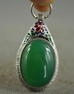 Collection Handwork Decorative Miao Silver Carve Flower Inlay Jade Lucky Pendant