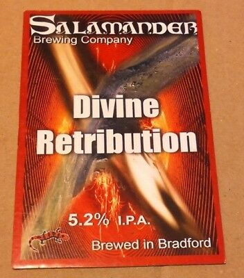 Beer pump clip badge front SALAMANDER brewery DIVINE RETRIBUTION ale Yorkshire