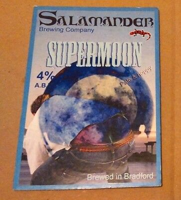 Beer pump clip badge front SALAMANDER brewery SUPERMOON cask ale Yorkshire