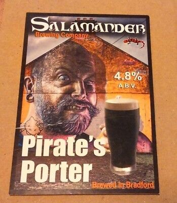Beer pump clip badge front SALAMANDER brewery PIRATE'S PORTER cask ale Yorkshire