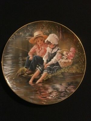 """""""Little Anglers"""" By Sandra Kuck Reco Plate 1983 Days Gone By Collection #0278SB"""