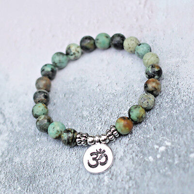 Om Charm African Turquoise Bracelet, Stretch Fit 8mm Gemstone Beads