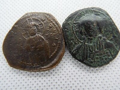 11-1 lot 2 pcs Anonymous Follis - Ancient Byzantine Bronze Coin JESUS CHRIST