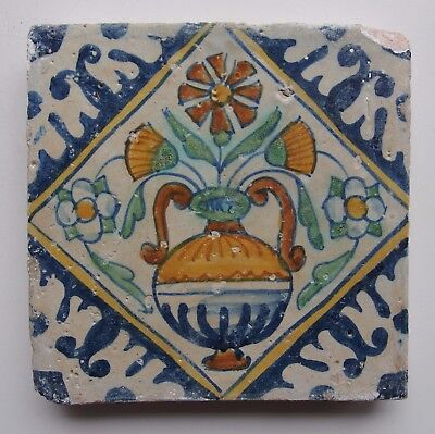 "17th century DUTCH DELFT ""KWADRAAT"" TILE POLYCHROME FLOWER POT (c.1600)"