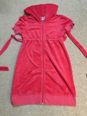 JUICY COUTURE Red GIRLS ZIP HOODED Short SLEEVE Long Track Suit Top 14 Years
