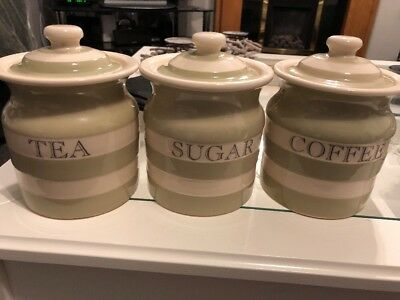 T G Green Cornishware Sage Tea Coffee Sugar Jars Very Rare
