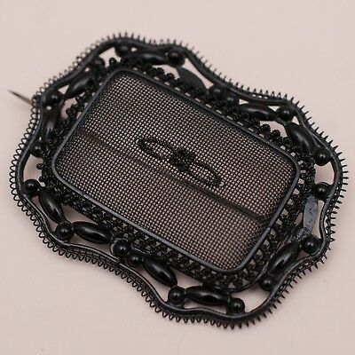 """Antique Victorian Mourning Wirework Enamel Jet Glass Large 2.5"""" Brooch Pin"""