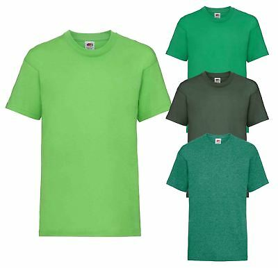 9133abc63 Plain Green Fruit of the Loom Cotton Childrens Kids Boys Girls T Shirt Tee