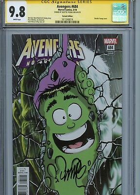 Avengers #684 Young Variant Cover Cgc 9.8 Ss Signed By Skottie Young