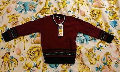Vintage Childs Jumper Age 7 8 9 70s 80s Red Black Unworn Girls Boys Sturdee