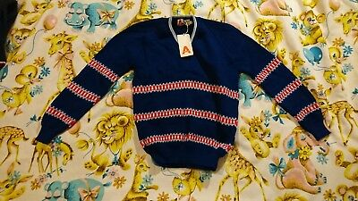 Vintage Childs 70s 80s Jumper Age 12 13 14 Blue Red Christmas Boys Girls striped