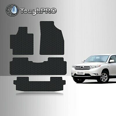 ToughPRO Floor Mats + 3rd Row Black For Toyota Highlander All Weather 2008-2013