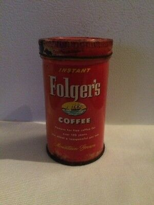 Rare 1955 J.A.FOLGERS & Co. 2 oz. INSTANT COFFEE Metal Can ~ hard to find Coffee