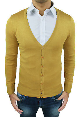 3679be17307f92 Cardigan maglione uomo Diamond casual giallo senape slim fit con bottoni