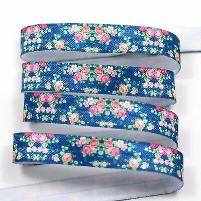 "1m/5m Winter Rose Flower on Navy 5/8"" FOE Fold Over Elastic HeadBand Hair Ties"