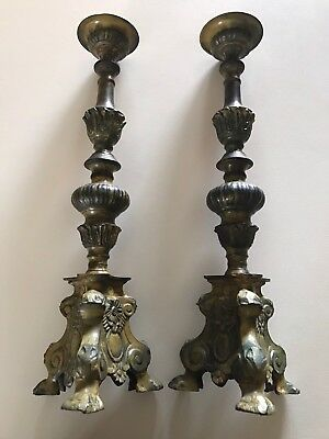 Large Pair Of Antique 19th Century Ecclesiastical Bronze Candlesticks