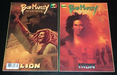 BOB MARLEY Tale Of The Tuff Gong Marvel Music Comic #1 Iron #2 Lion 2pc Lot