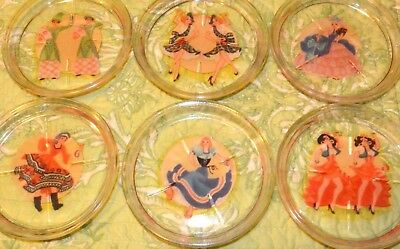 Set 6 Vintage Glass Coasters From 1940s 50s Pin Up Girls Dancers From The World
