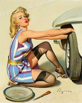 "1960s Elvgren Pin-Up Girl 24''x 30'' 32''x 40'' Poster Tire ""Quick Change""PC010"