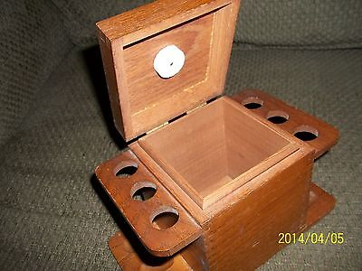 Vintage Wooden Pipe Hold/Rest Humidor Tobacco Box Hold 6 Pipes