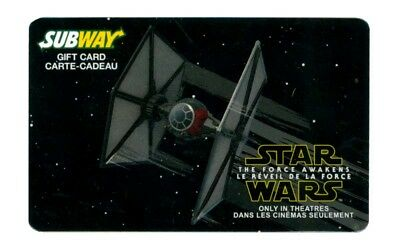 Subway Imperial Tie Fighter STAR WARS Force Awakens collectible gift card