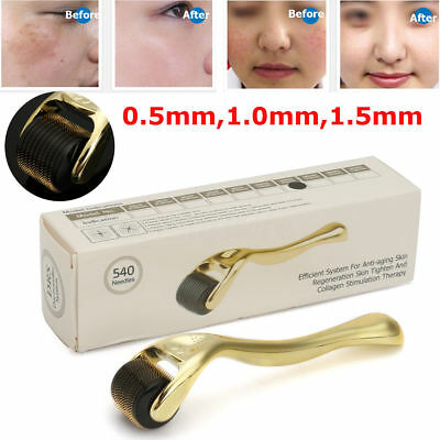 Golden 540 Needle Titanium Microneedle Derma Roller Skin Therapy 0.5mm-2.5mm