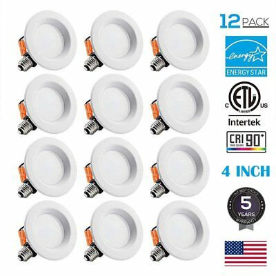"""12 Pack -4"""" Inch LED Recessed Light - 9W (=60W) Dimmable Downlight Trim 5000K MA"""