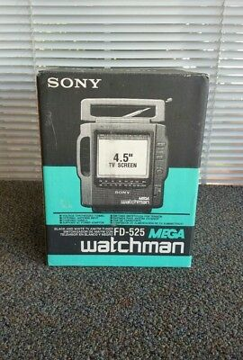 NEW Sony Watchman FD-525 Black & White TV / Radio NOS NIB - FREE SHIPPING