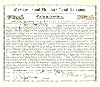 Chesapeake and Delaware Canal Company. Scrip Stock Certificate. 1887